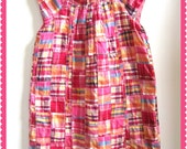 Cute GIRL'S PLAID DRESS //  Size 6/7 // Fully Lined // Bright Colored Madras in Hot Pink, Orange, Yellow, Etc.