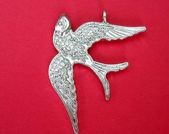 Bird Swallow  Antiqued Silver 39x26mm.