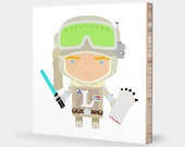 L for Luke : ABC Block Bamboo Wall Art // Alphabet Kids Nursery Room Decor Baby Star Wars Sci-fi