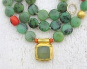 Chrysoprase Necklace , 24k Gold Necklace with Chrysoprase, Jade and Coral