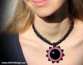 Black & PINK fiber necklace SUN with black OBSIDIAN, adjustable length micro macrame necklace