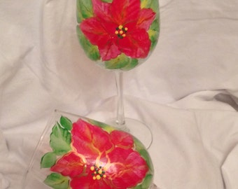 Hand painted wine glasses - poinsettia - set of two