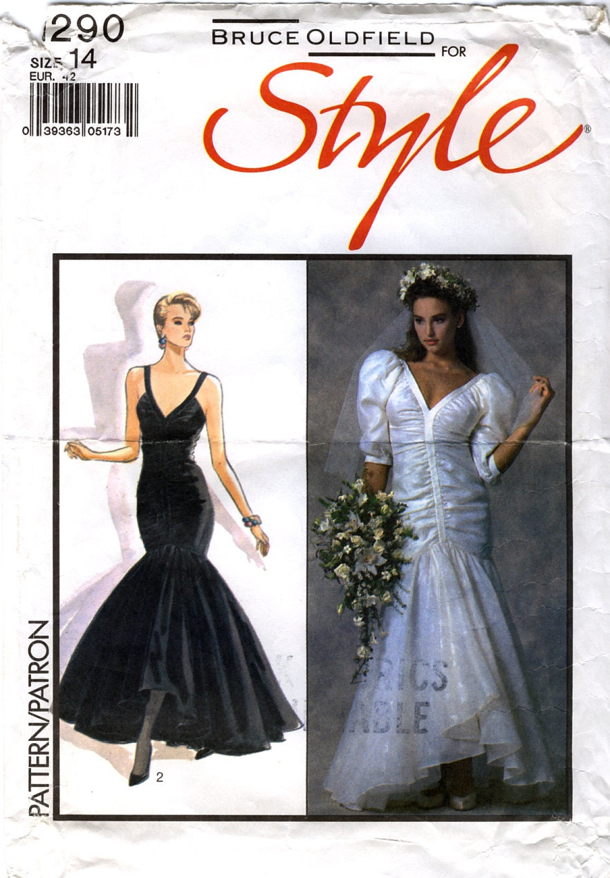 1980s Bruce Oldfield evening or wedding dress pattern - Style 1290
