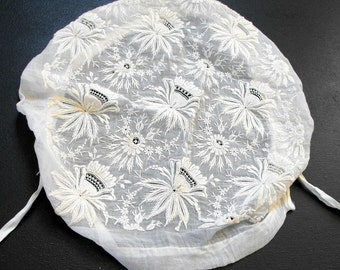 Antique French Coiffe Hand Embroidered Magnificent