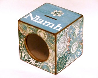Girls Coin Bank Box Wood Piggy Bank with Window for kids - Teal & Turquoise Flowers - Personalized