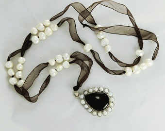 SALE! Black ONYX and Pearl Studded PENDANT on Extra Long Chocolate Brown Silk Ribbon with Fresh Water Pearls