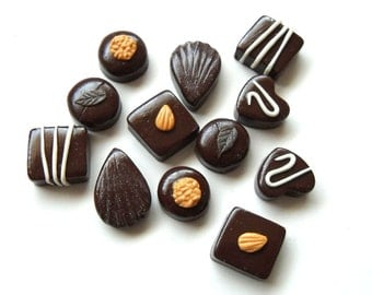 Polymer Clay Chocolate charms - Set of 6