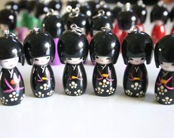 Kuroi Kimono Girl - 1 Wooden Black Japanese Kokeshi doll charm
