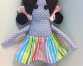 Ready to ship doll: Clarice cloth doll, brown haired doll with skirt and tutu