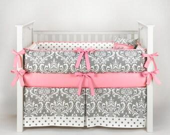 Custom Made - Damask Polkadot Gray & Bubblegum Crib Bedding Set
