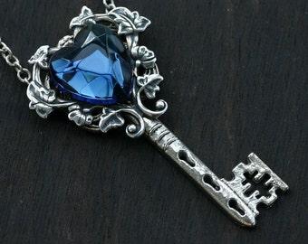 London Blue Topaz Key to My Heart Necklace