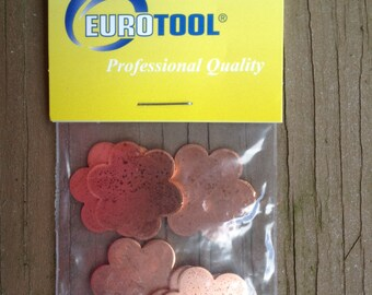 SIX FLOWER Quantity 6 Smaller Copper shapes for enameling