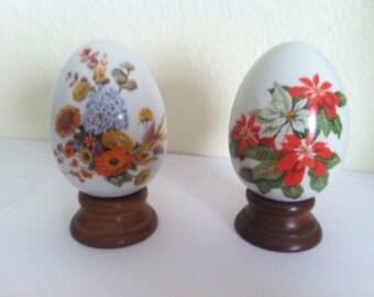 AVON collectible porcelain eggs, Autumn's Color, Winter's Treasure, 1987