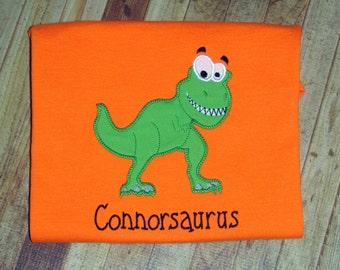 T-rex Shirt- White or orange