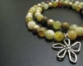 Flower Jade Necklace | Sterling Silver Artisan Pendant | Autumn Jewelry | Multi-Color Necklace | Yellow Green Brown