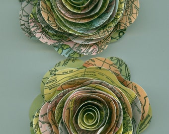 Large Travel Map Spiral Paper Flower