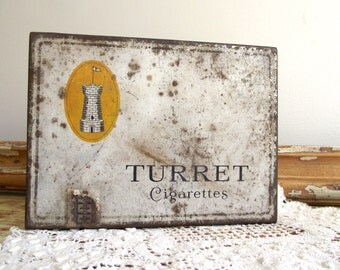 Turret Cigarette Tin | Vintage Collectible Advertising Tobacco Tin | Imperial Tobacco Co of Canada Ltd | 100 Cigarette Tin Flat Pack