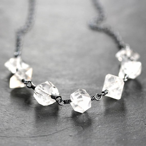 Herkimer Diamond Necklace, Ice Clear Rock Crystal Quartz Oxidized Sterling Silver Necklace - In the Rough