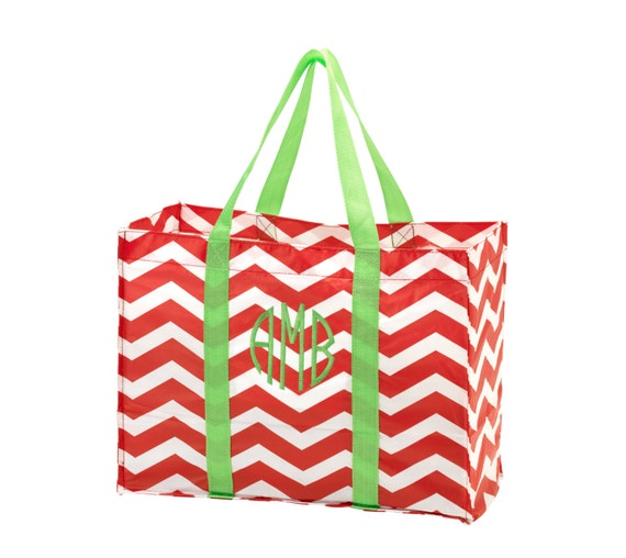 Christmas Red Chevron Tote with Lime Green