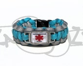 Defibrillator Medical Alert ID ALLOY Charm on 550 Paracord Survival Strap Bracelet with Plastic Contoured Side Release Buckle
