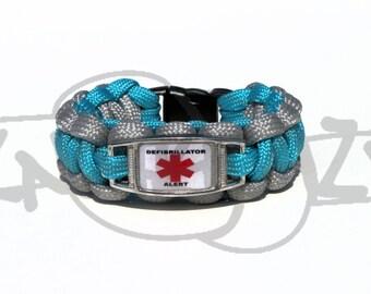 Defibrillator Medical Alert ID ALLOY Charm on 550 Paracord Survival Strap Bracelet with Plastic Contoured Side Release Buckle