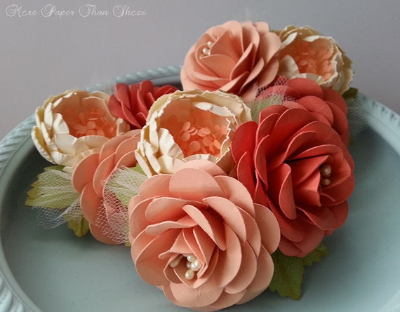 Wedding corsages paper flowers coral and peach weddings il570xn mightylinksfo