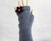FeltedFingerlessCuffsGlovesMerinoWoolUp-cycled Grey Gray OneOfAKind