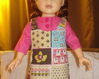 Modest patchwork jumper and pink top for 18 inch Dolls - ag184
