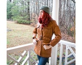 1970s 70s - whiskey brown leather hip length jacket with shearing like inner - size M