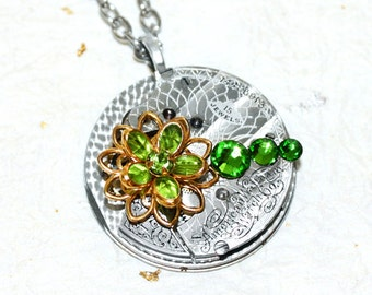 Steampunk Necklace - Incredible Silver Guilloche Etched Antique Pocket Watch Movement Green Swarovski Crystal Flower Steampunk Necklace Gift