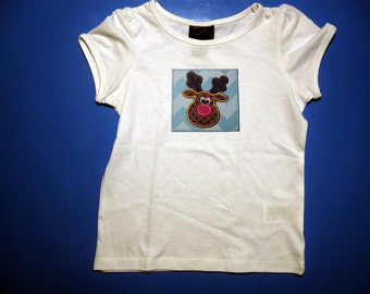 Baby one piece or  toddler tshirt - Embroidery and appliqued  girls reindeer