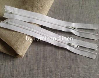 "YKK Zipper, white, 18cm, about 7"", set for 5 pieces"