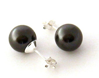Black Pearl Stud Earrings, Sterling Silver 10 mm Black Pearl Earrings, Sweet 16, Black Pearl Ear Studs, Wedding Jewelry, Bridesmaids Gifts