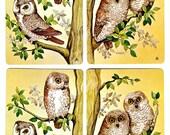 OWLS ON DUTY (4) Vintage Single Swap Playing Cards Paper Ephemera Scrapbook