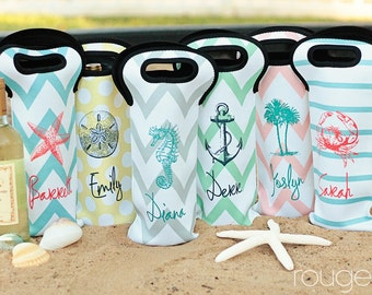 SEASIDE wine tote - monogrammed SEASIDE collection - fits both 500ml and 1.5 liter bottles