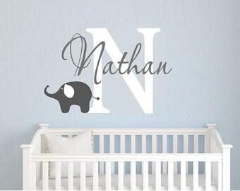 Childrens Monogram Name   boys- girls- elephant bedroom baby nurseryVinyl Lettering wall words Home decor itswritteninvinyl