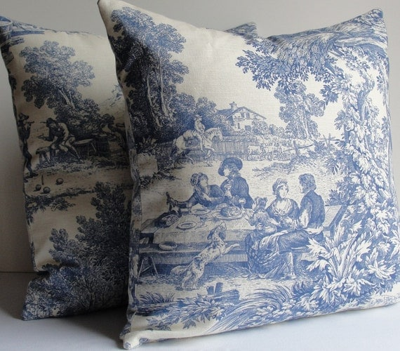 LAURA ASHLEY For KRAVET Indigo Blue Toile Pillows By WilmaLong