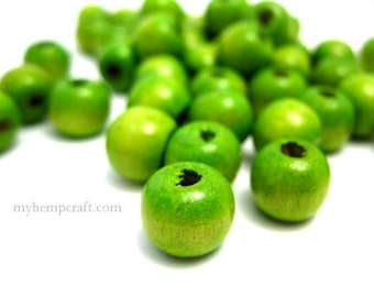 Green Wood Beads, 50pc Granny Smith Apple Colored 8mm Wooden Beads