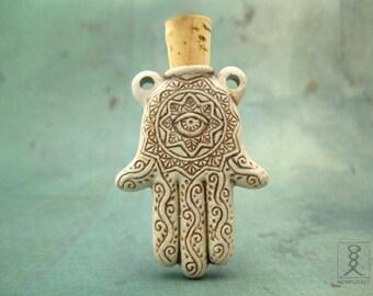 Hamsa Hand Pendant, Ceramic Clay Bottle, Protective Talisman, 1pc