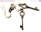 Antique Key Earrings/ skeleton key/ Tiny key earrings /