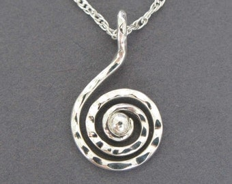 Sterling Silver Spiral Pendant, Spiral Necklace, Gift for Her, Small Sprial, Made in USA, Fabricated Metalwork Necklace, Handmade Jewelry