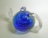 Blown Glass Teapot - Blue Sky Glass Teapot - Art Glass Teapot Sculpture