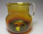 Handmade Glass Pitcher - Creamer Pitcher Flower Vase -  Gold Amber Blown Glass Pitcher