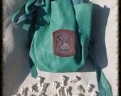 VIOLET PURPLES  Mountain Nanny Goat with Kid and Triskellion  Futhark rune set goat bone with Purple Goatskin bag  High Quality