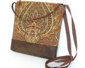Cross Body Bag, Fabric Hip Bag, Purse Pouch - Spice Bazaar in Pumpkin and Brown