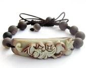 Handmade Zipao Jade Lucky Bat Peach Bead Beads Adjustable String Bracelet  T2123