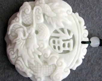 Natural Stone Dragon Good Blessing FU Amulet Pendant 45mm x 45mm  TH219