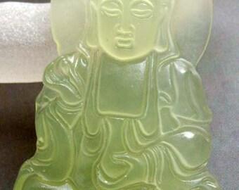 Xiuyan Stone Tibet Buddhist Kwan-Yin Pu-Sa Amulet Pendant 55mm x 33mm  T0444