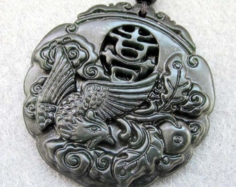 Natural Stone Carved Word XI Lucky Phoenix Amulet Talisman Pendant Bead For Handwork Jewelry 45mm x 45mm  TH079
