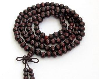 8mm x 7mm Tibetan Buddhist Buddha 108 Wood Prayer Beads Stretchy Japa Mala Necklace  ZZ120  8mm